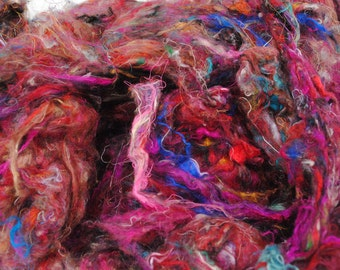 Multi coloured, Carded, Recycled Sari Silk 100g / 3.5oz