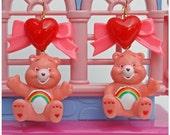 Care Bear Heart And Bow Earrings- Rainbow Bear