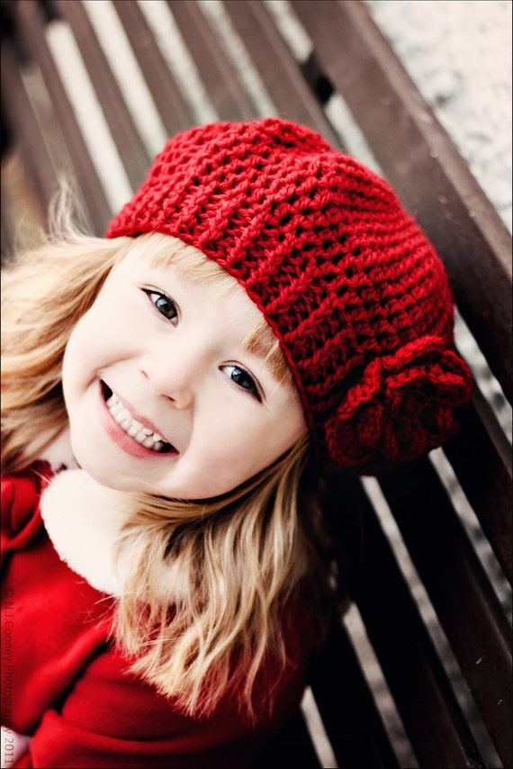 0021 - PDF PATTERN for Children's Crochet Slouchy Hat with Flowers and Leaves - Sizes Included for CHILDREN 3-12 years