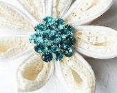 10 Rhinestone Button Teal Blue Crystal Button Wedding Brooch bouquet Hair Comb Wedding Invitation Scrapbooking Supply BT105