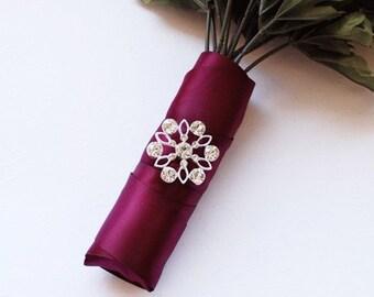 Rhinestone Buckle Wholesale Buckle Crystal Slider Silver Wedding Invitation Wedding Supplies Napkin Ring BK069 Flower Buckle