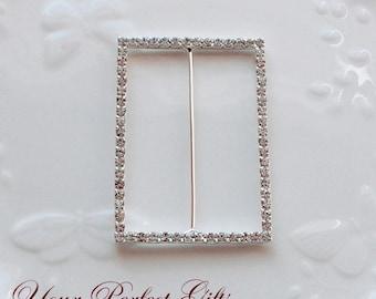 Rhinestone Buckle Wholesale Buckle Crystal Slider Silver Wedding Invitation Wedding Supplies Napkin Ring BK086 Rectangle Buckle