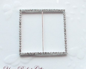 Rhinestone Buckle Wholesale Buckle Crystal Slider Silver Wedding Invitation Wedding Supplies Napkin Ring BK033 Square Buckle