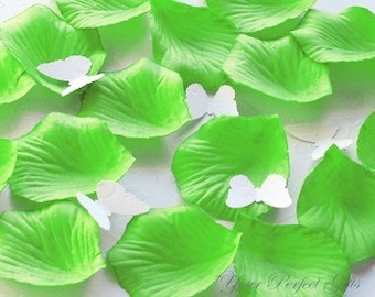 1000 Pieces Lime Green Silk Rose Petals Wedding Flower Facor Decoration RP017