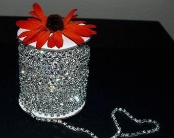 3 Feet/1 Yard SS18 4.3mm Rhinestone Chain Crystal Silver Plated Wedding Cake Banding Ribbon Flower Bouquet Jewelry RC007