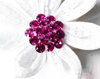 "5 Rhinestone Button Fuchsia Hot Pink Round 1.1"" Diamante Crystal Hair Flower Comb Wedding Invitation Scrapbooking BT111"