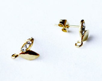 SALE 10 pcs Mini Sprout Earring Earstuds Clear Crystal Rhinestone Gold Plated EF019