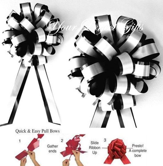 "10 Black White 8"" Pull Pew Bows Wedding Decoartion Church Chair Bridal Party PB015"