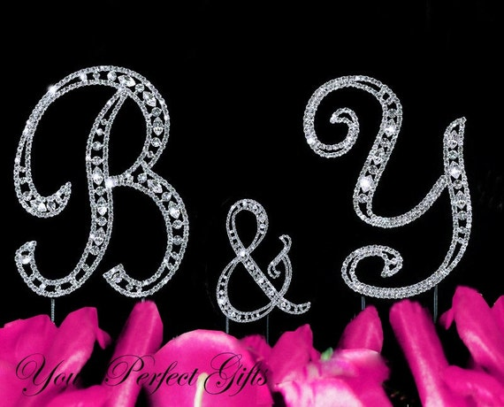 Rhinestone Crystal Monogram Wedding Cake Topper Initial Letter Silver 3 Inches Birthday Anniversary CT072