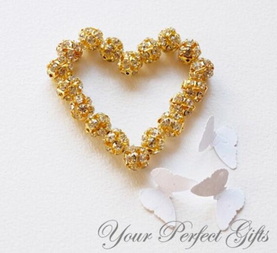 SALE 10 pcs Swarovski Rhinestone Crystal Gold Plated Bead Spacer Ball 12mm Jewelry Craft Supplies AC015