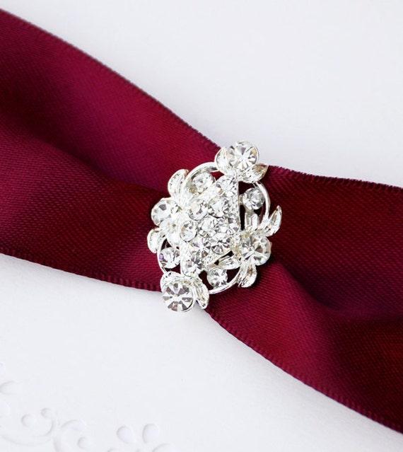 Rhinestone Buckle Wholesale Buckle Crystal Slider Silver Wedding Invitation Wedding Supplies Napkin Ring BK061 Crystal Buckle