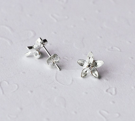 10 Round Flower Earstuds with 925 Sterling Silver Post Clear Crystal Rhinestone Closed Loop FREE combine shipping from US EF011