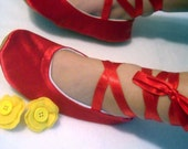 Fancy Nancy Inspired Ballet Shoes Red Satin with Yellow Detachable Flower