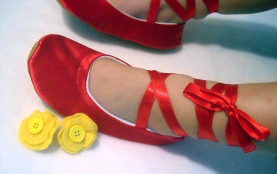 Fancy Nancy Inspired Red Satin Ballet Shoes with Yellow Detachable Flower