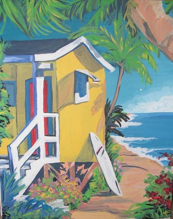 Beach house colorful acrylic contemporary beach house surf for Beach house prints