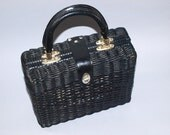 RESERVED FOR ANNA 50s 60s Black Wicker Leather Handles Turn Key Closure Handbag Purse by dvgvintage