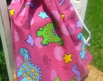 Large Girls Cotton Pink Dinosaur Drawstring Book Bag, Laundry Bag, Toy Bag, Book Bag, Pink Dinos