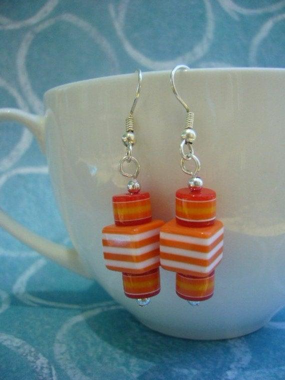 Orange Candy Stripe Earrings