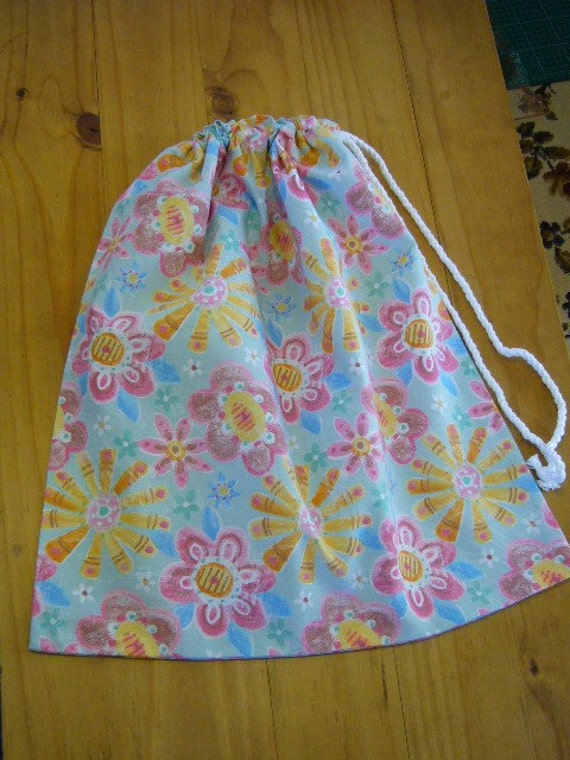 Large Girls Flower Drawstring Book Bag, Toy Bag, Craft Bag, Laundry Bag, Beach Bag
