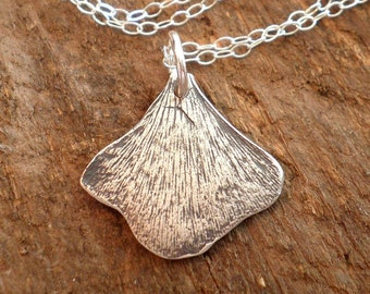Fine Silver Tiny Ginkgo Necklace