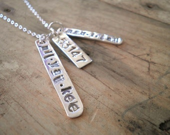 Custom Silver Text Necklace -- City, Zip, Etc.