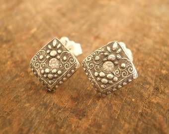 Square Scroll Post Earrings Fine and Sterling Silvers