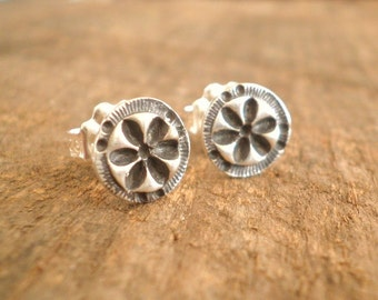 Circle Petal Post Earrings Fine and Sterling Silvers