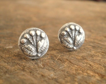 Circle Petite Bouquet Post Earrings Fine and Sterling Silvers