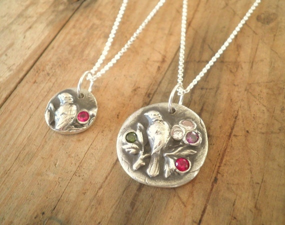 Custom Silver Mother and Daughter Bird Necklace Set