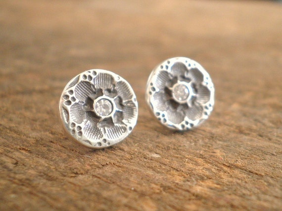 Circle Sparkly Flower Post Earrings Fine and Sterling Silvers