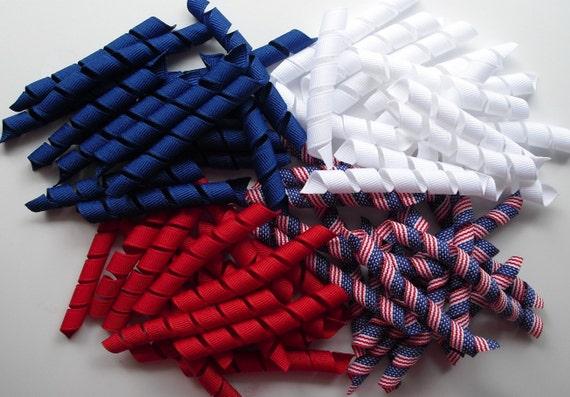 60 Korker Ribbon Pieces - American Flag Mix