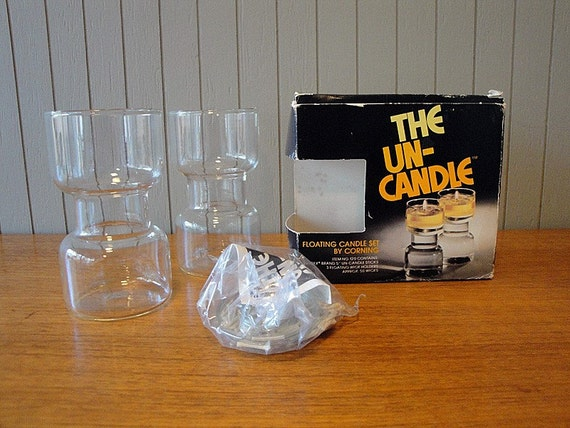 SALE - Set of Two Short Un-Candles from Corning (2)