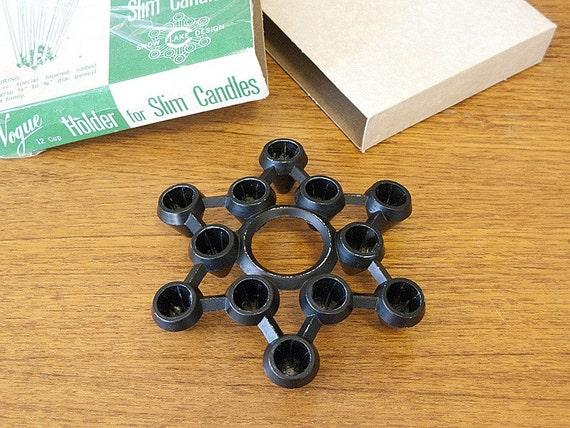 12 Taper Cast Iron Candleholder in Original Box - Snow Flake Pattern