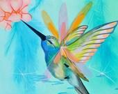 Hummingbird Flutter 4X4 Mounted Print