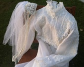 Stunning Vintage 1970's Wedding Dress and Gorgeous Cap Veil REDUCED PRICE