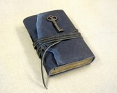 Magic Key - Leather Journal with Antique Skeleton Key and Vintage Style Paper