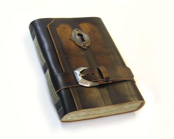 Vintage Large Leather Art Journal, Aged Paper, Vintage Key Hole