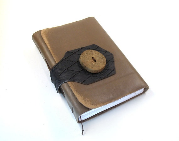 Leather Journal with Handmade Wood Button - Rustic Vintage Textures