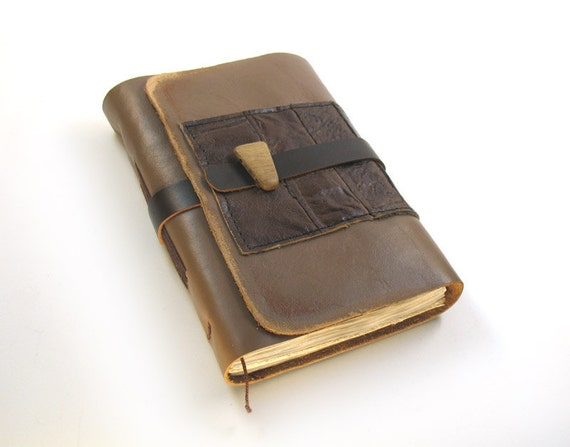 Art Journal - Leather and Wood - Aged Paper - Journal / Notebook / Diary