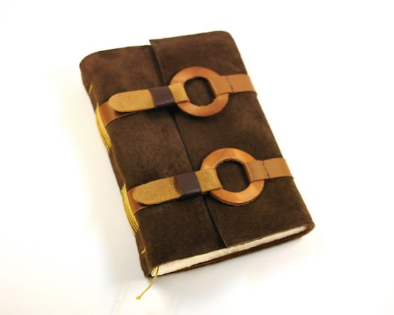 Coffee Brown Suede Journal - Handmade Leather Journal - Story Keeper