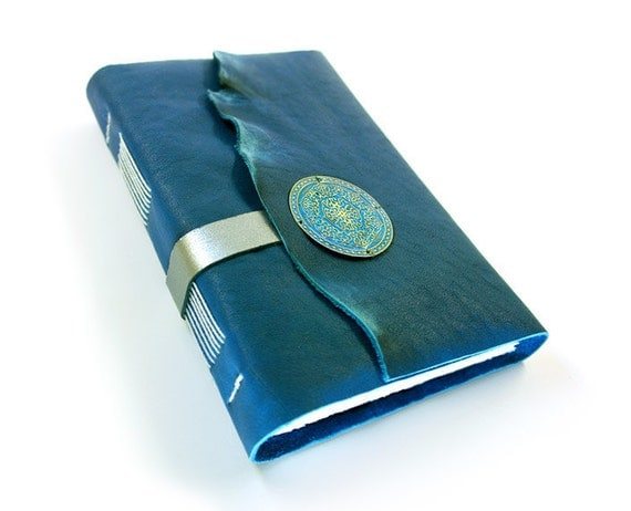 RESERVED FOR VIVIAN - Orientalia - Leather Journal - Topaz Blue Handbound Notebook