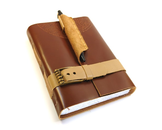 Brown Leather Journal with Buckle and Pen Holder - Retro