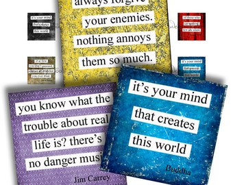 Say it Again Quotes. 1 x 1 Inch. Scrabble Tiles. Digital Collage Sheets. Printable Images. Squares. Words. Sayings. Quotes. Typography.