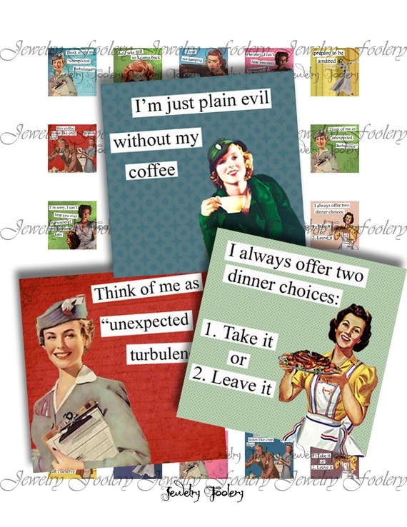 Retro Brazen Broads II Quotes 1x1 Digital Collage Sheet Scrabble Tiles Square Inch Images For Jewelry Words Sayings Typography