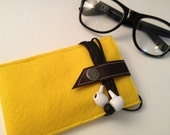 Yellow Wool Felt IPhone Case/Wallet by IslandFitz (Refurbished Leather)