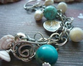 Silver, shell, pearl and semiprecious bracelet-ocean candy