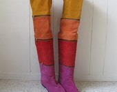 80s Amazing OTK over the knee suede COLOR BLOCK flat boots with zippers size 5