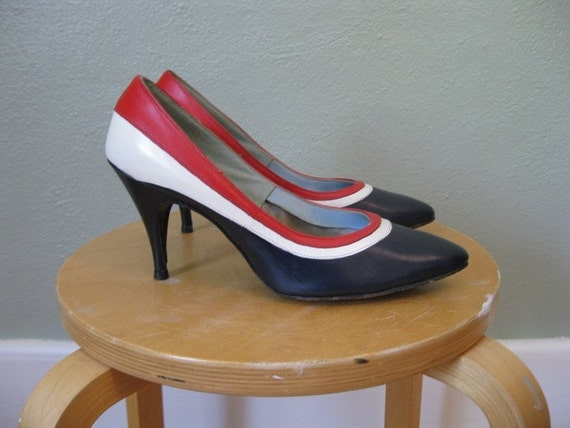 50s leather RED WHITE and BLUE Stilettos size 7.5