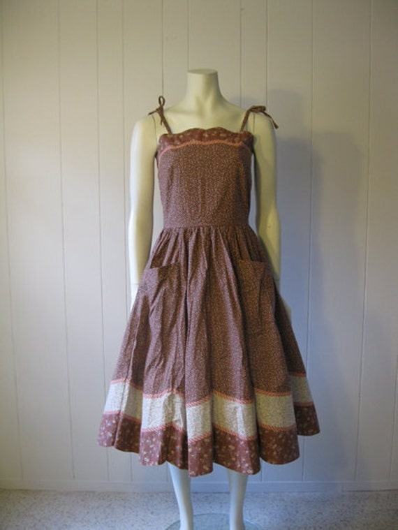 70s does 50s PRAIRIE SUNDRESS in calico cotton size small