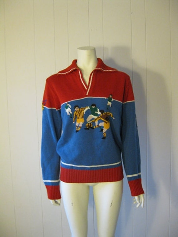 70s novelty pullover sweater SOCCER theme size medium